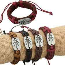 Wholesale Lot 12 SILVER COLOUR MARIJUANA LEAF CHARM Adjustable Leather Bracelet