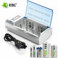 LCD Smart Battery Charger For AAA AA C D 9V Ni-MH Ni-CD Rechargeable Batteries