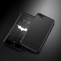 For Apple iPhone 6s 7 8 Plus Shockproof Carbon Fiber Slim Soft TPU Case Cover