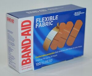 100 BAND-AID BRAND ADHESIVE BANDAGES FLEXIBLE FABRIC BOX ONE SIZE COMFORTABLE