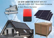 2.8 Kw Grid-Tie Solar Panel Kit 9 x 315W Sma Inverter & Ironridge Racking