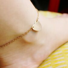 Ladies Womens Heart Chain Anklet Summer Jewellery Gold Silver Ankle Charm