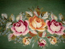 Handcrafted Completed Needlepoint Canvas Bench Cover Rug Lovely Roses On Green