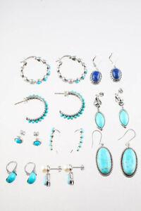 Designer Womens Sterling Silver Turquoise Dangle Earrings Lot 9