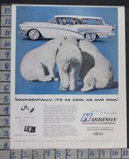 1958 HARRISON AIR CONDITIONING POLAR BEAR GM CAR AUTO MOTOR VINTAGE AD  CW14