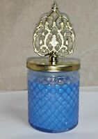 New glass blue wick candle jars stylish cover vintage design home decoration