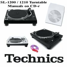 Technics SL-1200 SL-1210 turntable service instruction owner manuals on CD-r