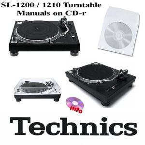 Technics SL-1200 SL-1210 turntable service instruction owner manuals on CD-r