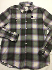 LEE COOPER East London Flannel Shirt in Oyster Plaid, Roll Tab sleeves, size: M