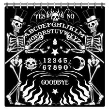 Shower Curtain Ouija Board Skeleton Black White Gothic Goth Horror Halloween