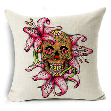 Skull Cotton Linen Fashion Sofa Throw Pillow Case Cushion Cover Home Decor 18x18