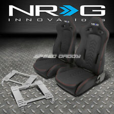 NRG BLACK RECLINABLE RACING SEATS+STAINLESS STEEL BRACKET FOR 05+ GT500 MUSTANG
