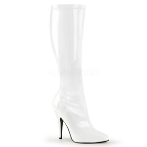 Pleaser Seduce-2000 Sexy Knee High Stiletto Large Size White Boots Size 6-16