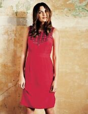 BODEN red cerise sequin belgravia sleeveless dress womens size 2R US / 6R UK NEW