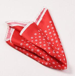 New $215 KITON NAPOLI Red-White Floral Medallion Print Silk Pocket Square