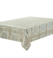 "Waterford Linens Jonet Tablecloth 70"" x 84"" Cream & Dusty Aqua New"