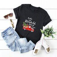 Women Merry Christmas Tree Car Blouse Tee Top Funny Short Sleeve Summer T-Shirt
