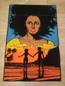 MEMORIES Black Pride Couple Love Flocked Blacklight Poster 1976 Funky #907 BLM