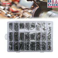 1080PCS M2 M3 M4 Stainless Steel Allen Button Head Screw Bolt Nut Assortment Kit