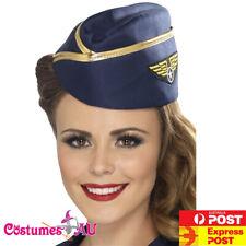 Ladies Air Hostess Hat Navy Blue Pilot Stewardess Halloween Costume Accessory