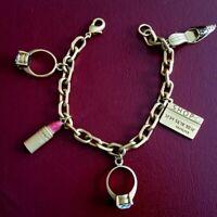 Avon Gold Tone Shopping Bracelet Bling Charm Ring Shoe Credit Card