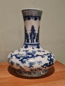 Antique chinese blue and white porcelain vase Kangxi