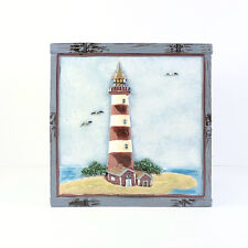 Beacon Point Lighthouse Sailboat Nautical Square Tissue Box Cover