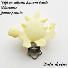 Pince / Clip en silicone, attache tétine, passant boucle, Dinosaure : Jaune pous