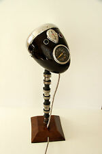 Vintage Desk Lamp From Motorcycle Headlight, Woden Base & Engine Shaft
