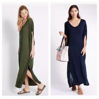 M&S New Navy Blue Khaki Green Summer Beach Cover Up Maxi Dress Size  8 - 18