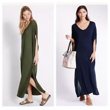 M&S New Navy Blue Khaki Green Summer Beach Cover Up Maxi Dress Size  8 10 12 14