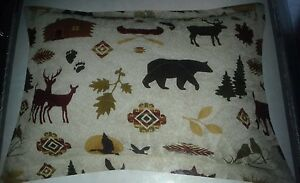 4 PILLOW SHAMS Fish QUILT cabin trout flyfishing boat Moose bird canoe boat Bear