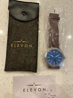 NEW Elevon Hanson Genuine brown Leather Watch blue face water resistant