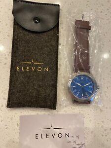 NEW Elevon Hanson Genuine brown Leather Watch blue face water resistant