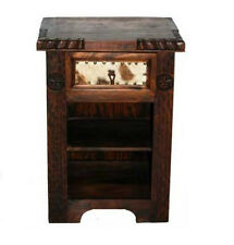 Rustic Dark Real Cowhide Night Stand Cabin Lodge Western Real Solid Wood