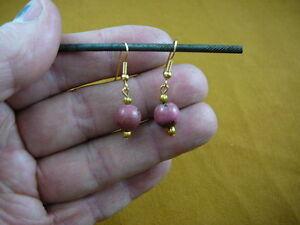 (EE-486-1) 10 mm Pink rhodonite bead beaded dangle earrings