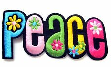 Peace Sign Iron On Patch- Peace Badge Hippy Gift Embroidered Applique