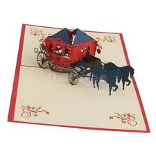 Xmas Wedding Valentine Greeting Card 3D Love Carriage Coach Pop Up