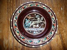 Wooden INLAID MOTHER of PEARL Egyptian Pharaoh CHARIOT HORSE design dish plate