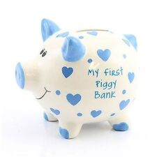 Large 'my First Piggy Bank' Blue Hearts Money Bank