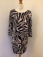 Wallis Dress Small Black Cream Zebra Tiger Print Jumper Knee Length Autumn 10-12