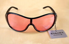 KOKODA PINK LENS BLACK FRAME SUNGLASSES + POUCH-NEW WITH TAGS*SHIPS FROM SYDNEY*
