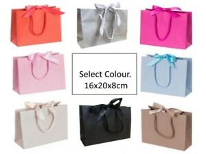 5 Luxury Boutique Ribbon Tie Gift Bag Rope Handles Baby Wedding Hen Party Bags