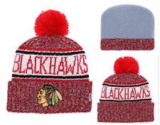 3a0a2370743 2018 Chicago Blackhawks New Era NHL Knit Hat On Field Sideline Beanie
