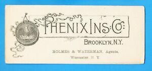"PHENIX INSURANCE CO. Brooklyn & Worcester New York - 4x9.5"" unused ink blotter"