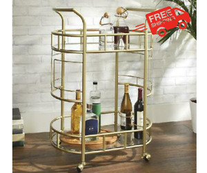 Liquor Bar Trolley Home Rolling 2-Tier Bar Cart Storage Drink Mobile  - Gold NEW