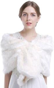 UK Stock Bridal Warm Shawl Coat Wedding Stole Wrap Shrug Faux Fox Fur Shawl K1