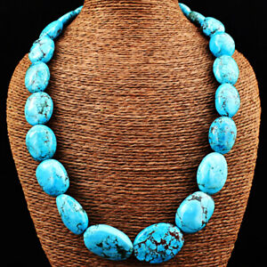 Oval Shape 910.00 Cts Natural Turquoise Beads Single Strand Necklace NK-22E250