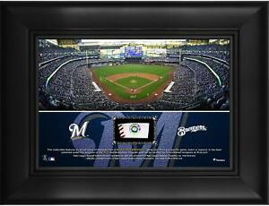 """Milwaukee Brewers Framed 5"""" x 7"""" Stadium Collage & Piece of Game-Used Baseball"""