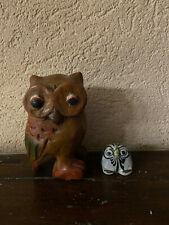 2 Statuettes Hiboux - Chouette bois et céramique pour collectionneur